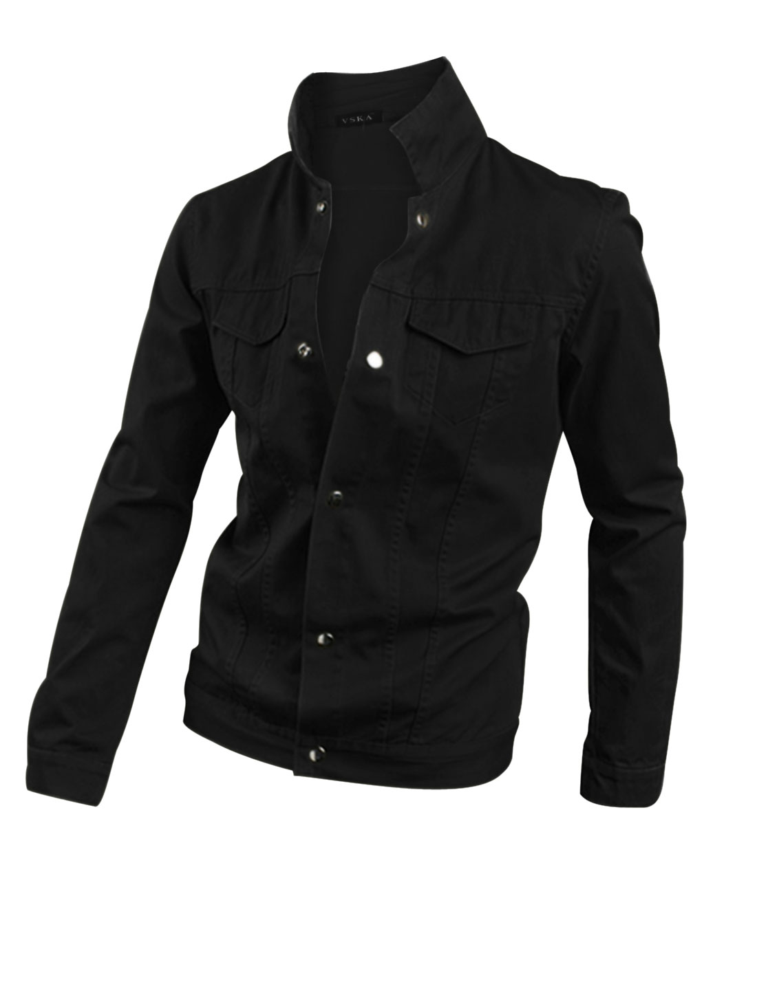 Snap Fastener Cuffs Long Sleeves Black Casual Jacket for Man M
