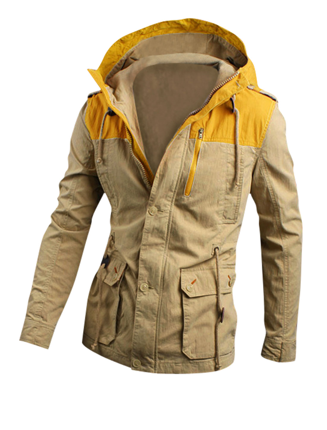 Men Drawstring Detail Multi Pockets Color Block Hooded Jacket Khaki Yellow M