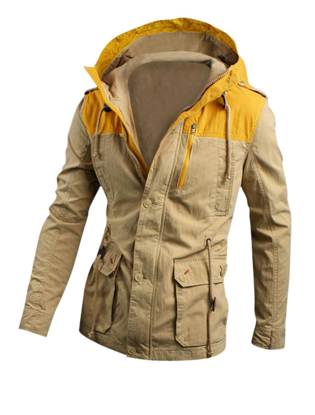 Men Drawstring Detail Multi Pockets Color Block Hooded Jacket Khaki Yellow M