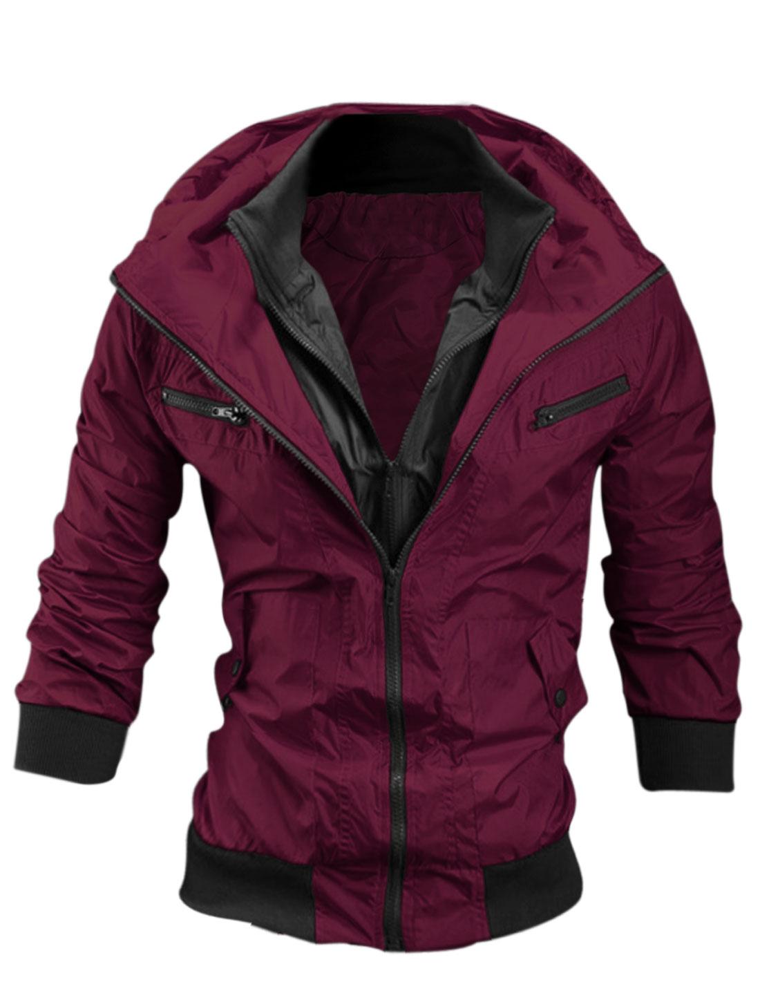 Men Burgundy Long Sleeves Double Zip Down Color Block Hoodie Wind Breaker M