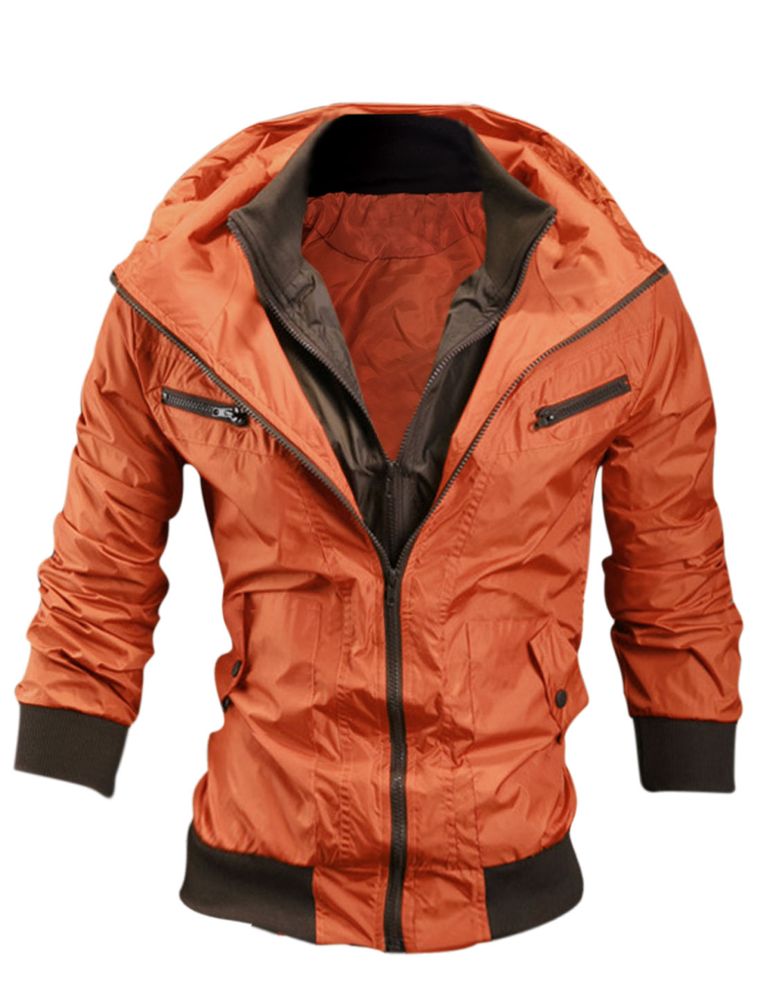 Men Dark Orange Long Sleeves Double Zip Fly Front Pocketes Hoodie Wind Breaker M