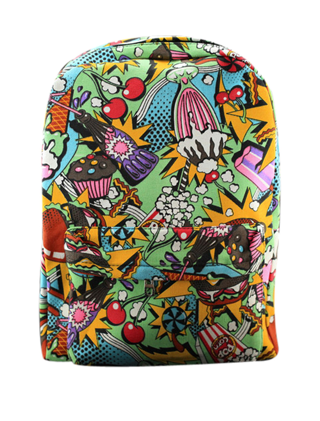 Men Zip-Up Closure Food Prints Two Compartment Backpack Multicolor