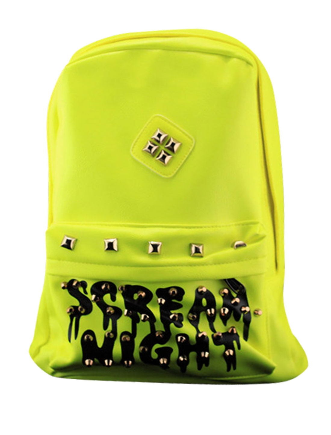Men Letters Prints Studs Decor Imitation Leather Backpack Yellow Green