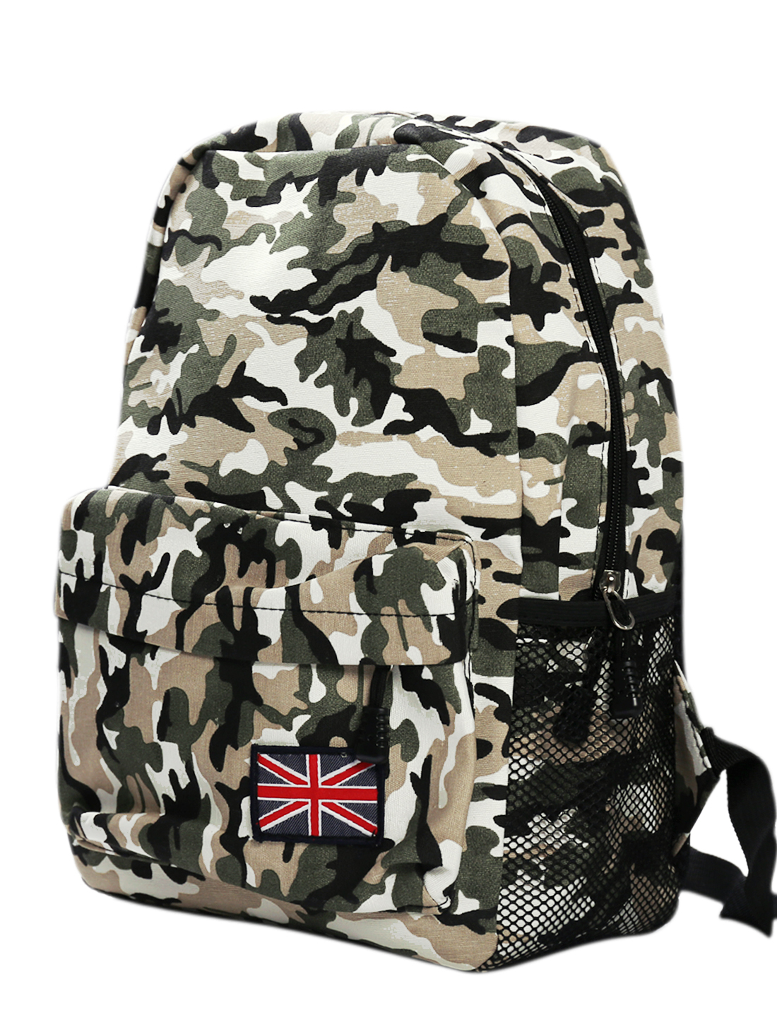 Men Camouflage Pattern Zip-Up Closure Two Compartment Backpack Multicolor