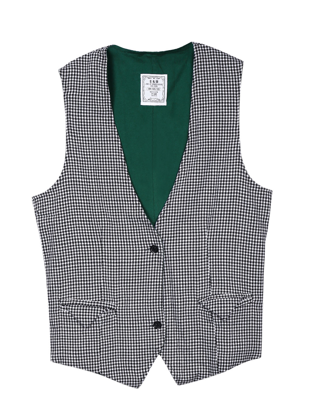 Men Stylish Button Down Houndstooth Pattern Reversible Vest Black White S
