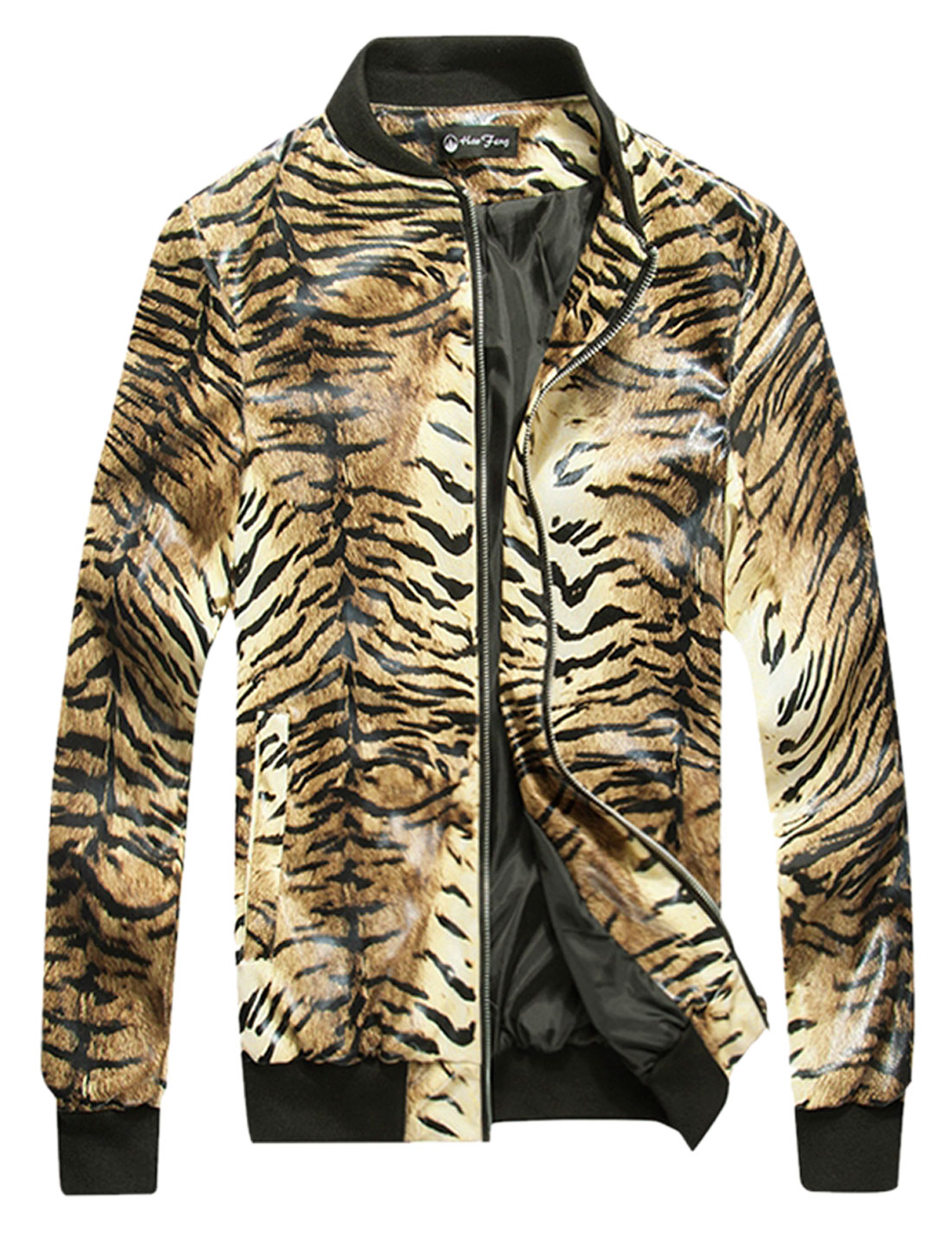 Men Tiger Prints Zip Up Slant Pockets Imitation Leather Jacket Beige Brown M