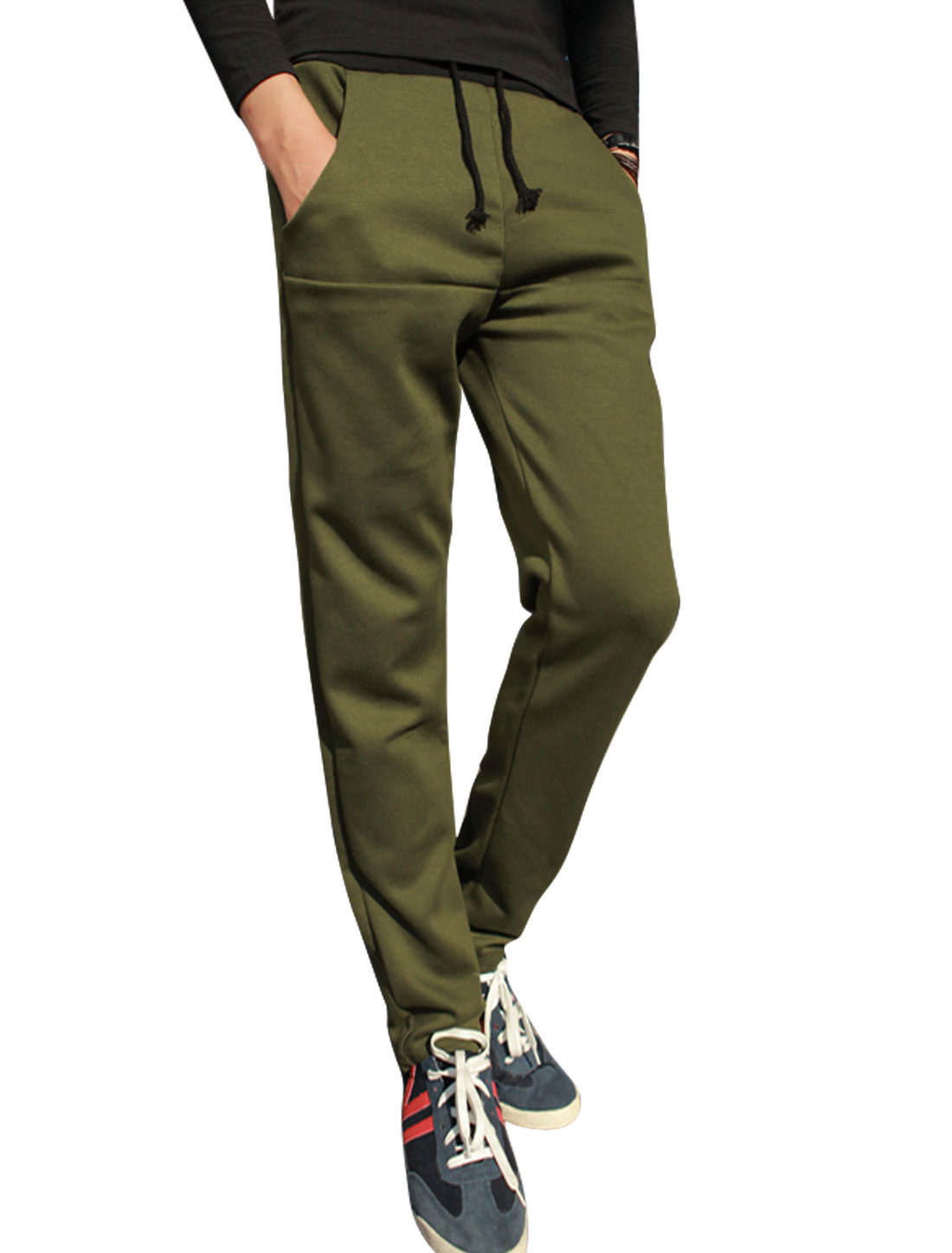 Man Multi Pockets Elastic Waist Casual Pants Army Green W30