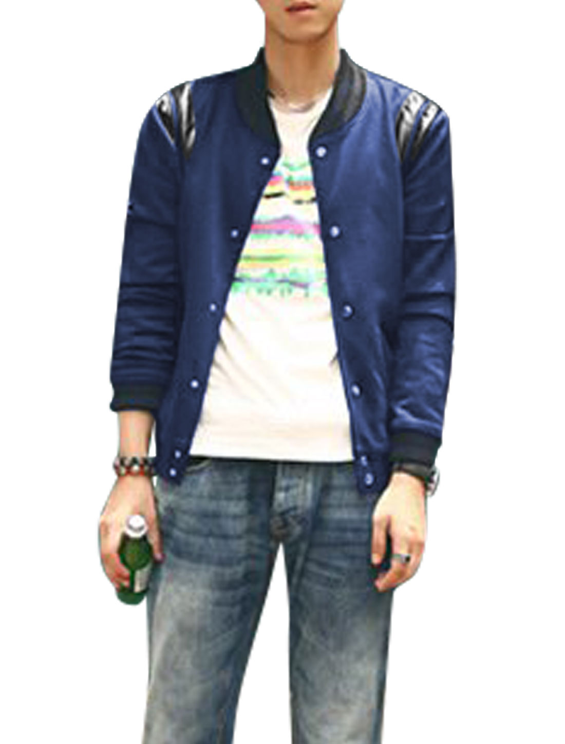 Men Stand Collar Long Sleeve Button Closure Casual Baseball Jacket Navy Blue M