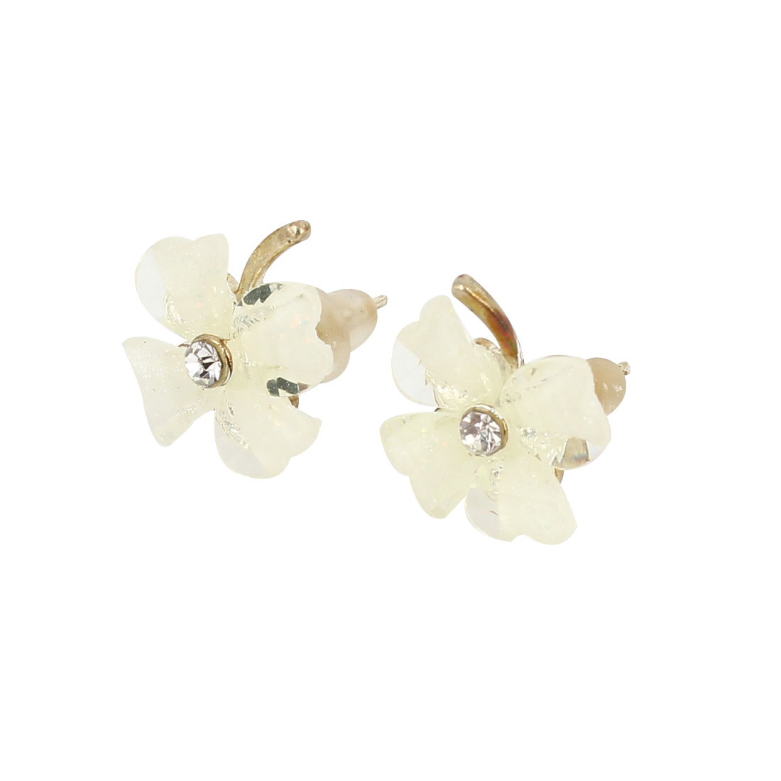 Clear Beige Clover Design Rhinestone Detailing Stud Earrings Pair for Lady