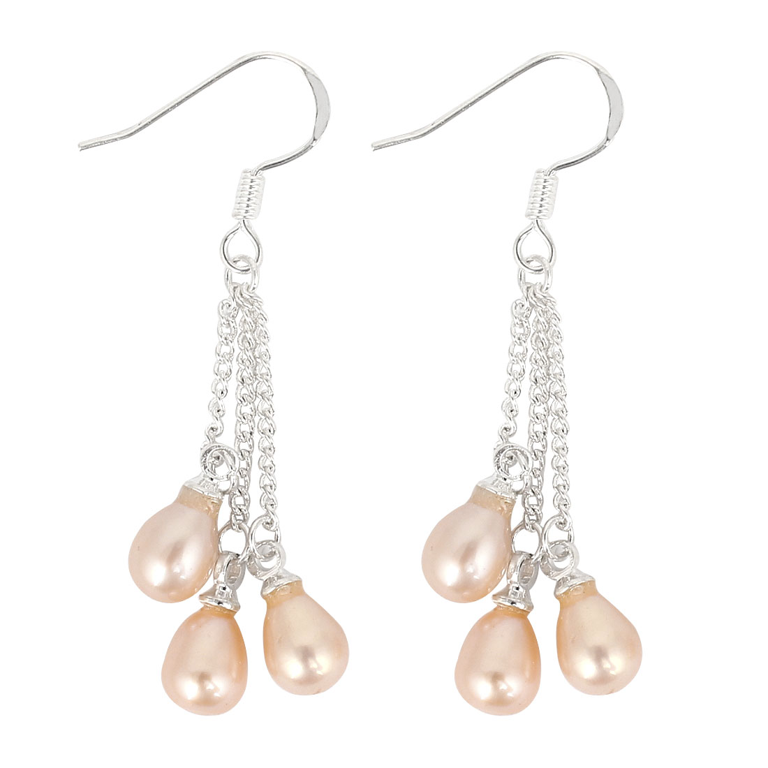 Silver Tone Metal Chain Beige Imitation Pearls Dangling Pendant Hook Earrings Pair for Woman
