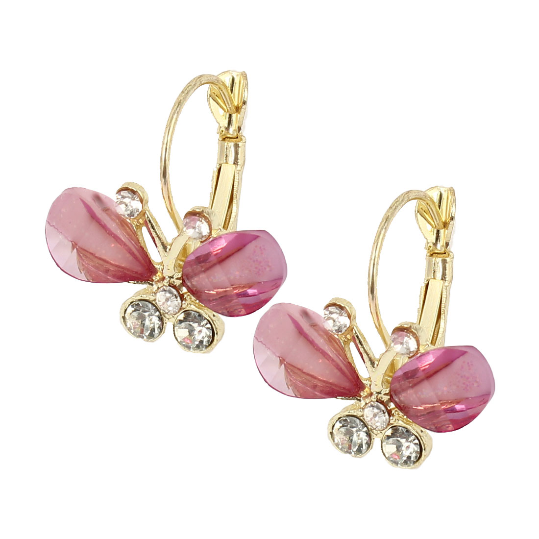 Clear Pink Butterfly Shaped Rhinestone Inlaid French Clip Earrings Pair for Lady