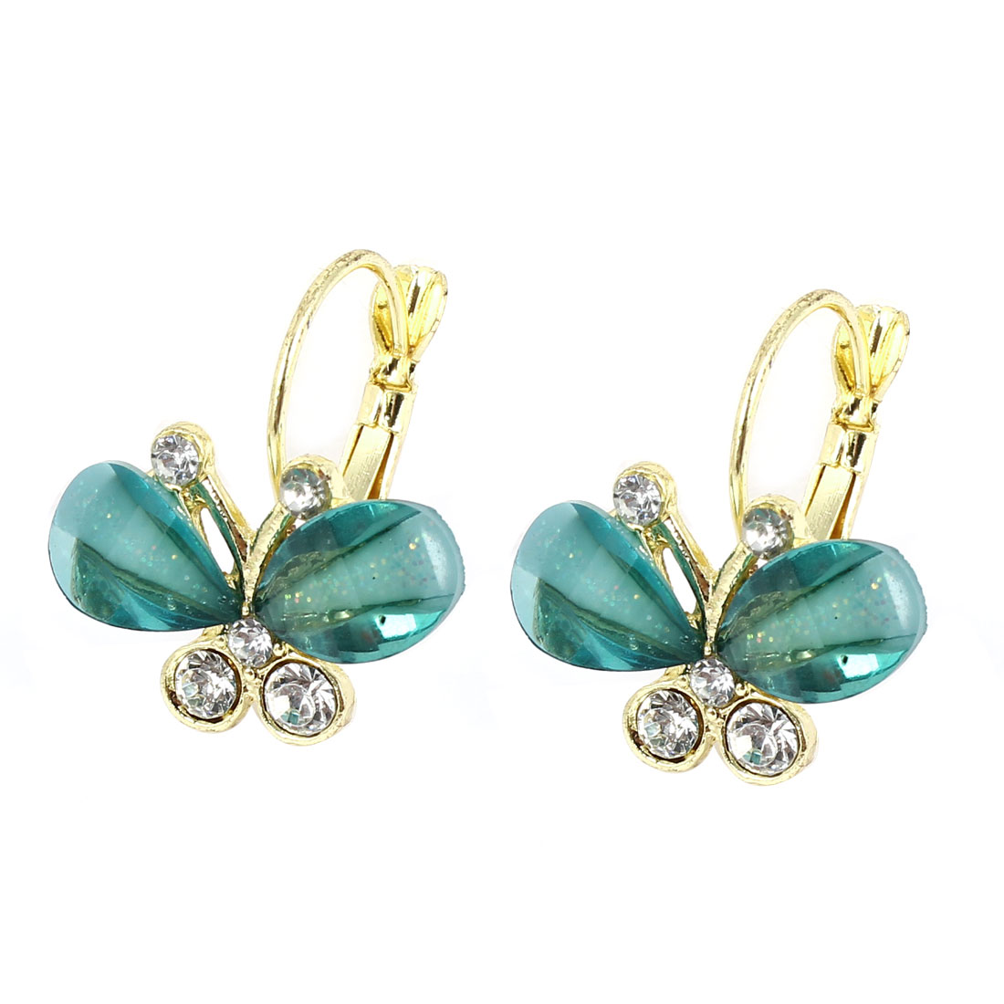 Clear Green Butterfly Shape Rhinestone Detail French Clip Earrings Pair for Lady