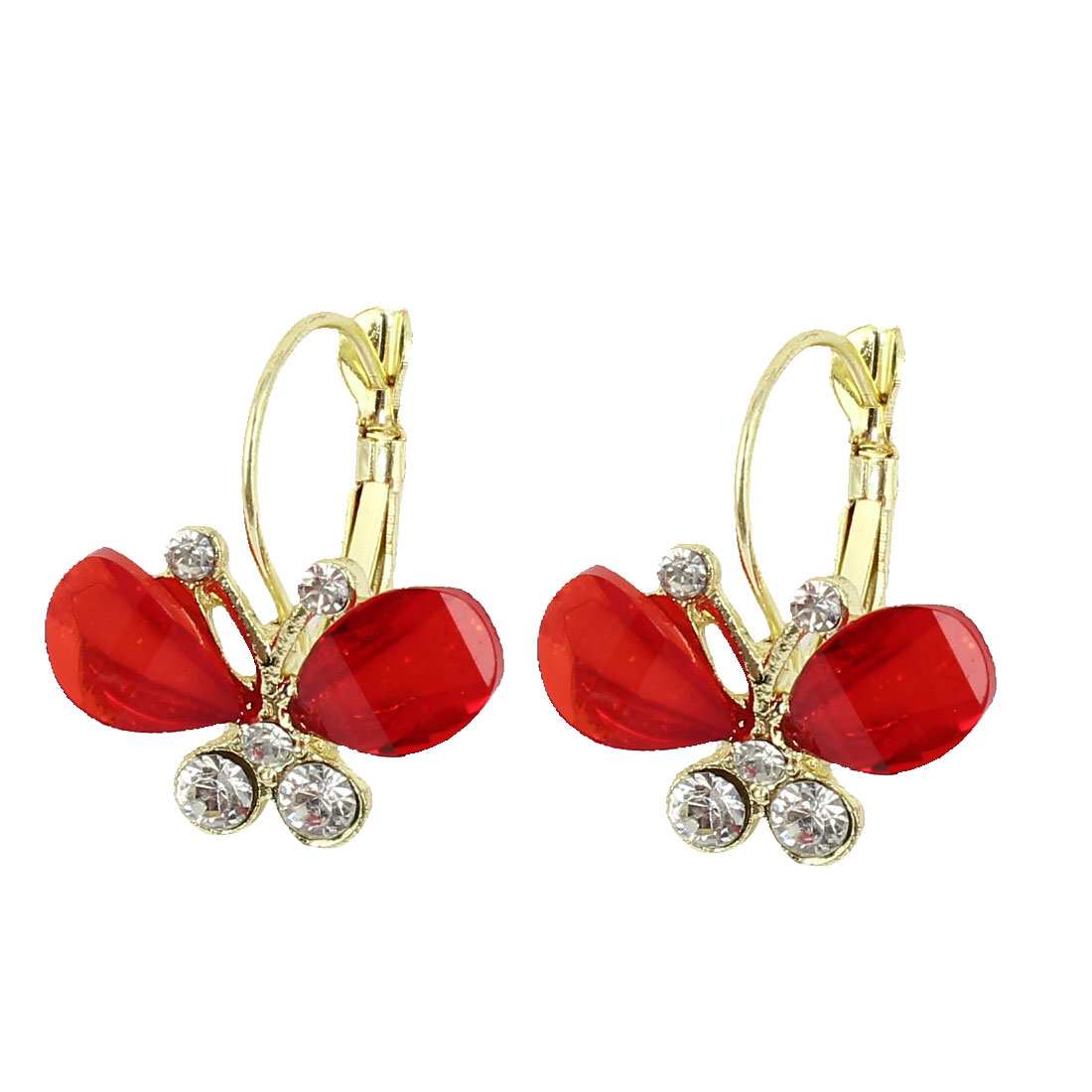 Clear Red Butterfly Shape Rhinestone Decor French Clip Earrings Pair for Woman
