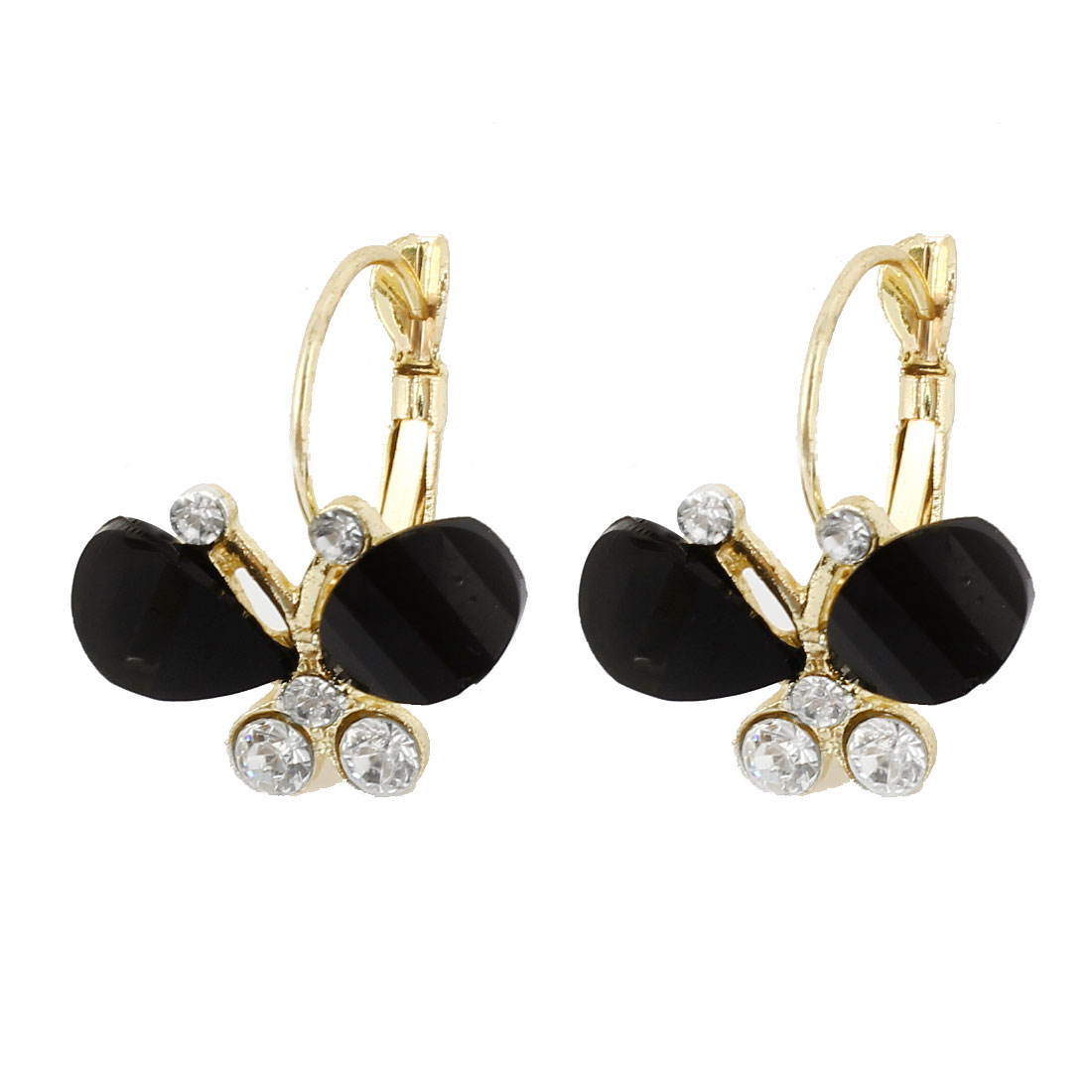 Black Butterfly Design Rhinestone Detailing French Clip Earrings Pair for Lady