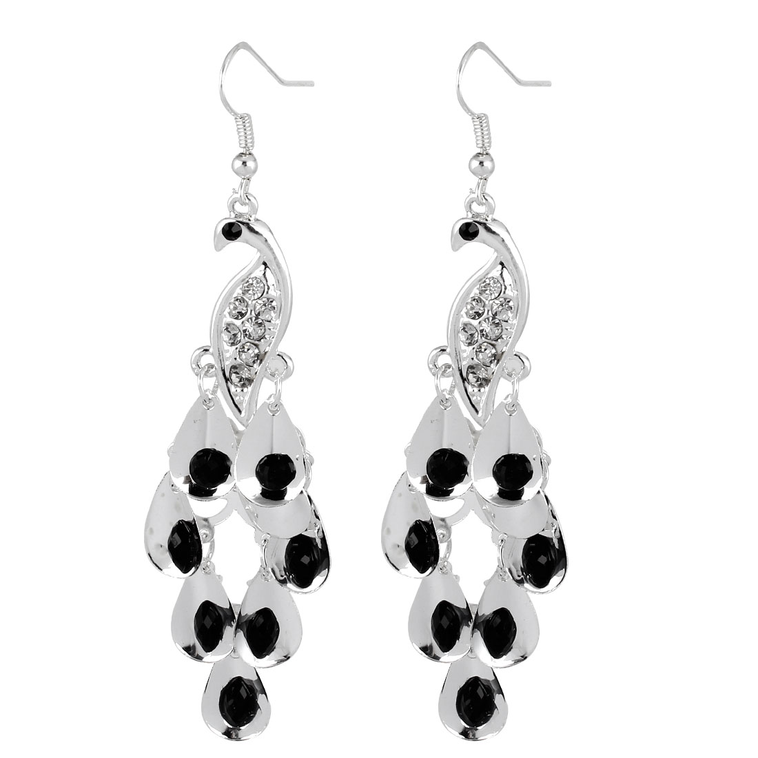 Black Faceted Beads Accent Peacock Shape Pendant Hook Earrings Silver Tone Pair for Lady