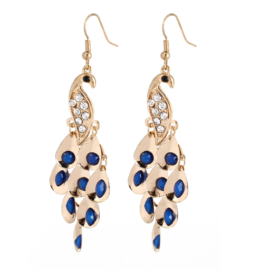 Blue Faceted Beads Accent Peacock Shape Pendant Hook Earrings Gold Tone Pair for Lady