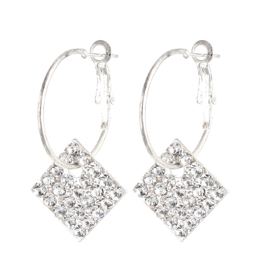 Lady Metal Faux Rhinestone Detailing French Clip Earrings Earbob Eardrop