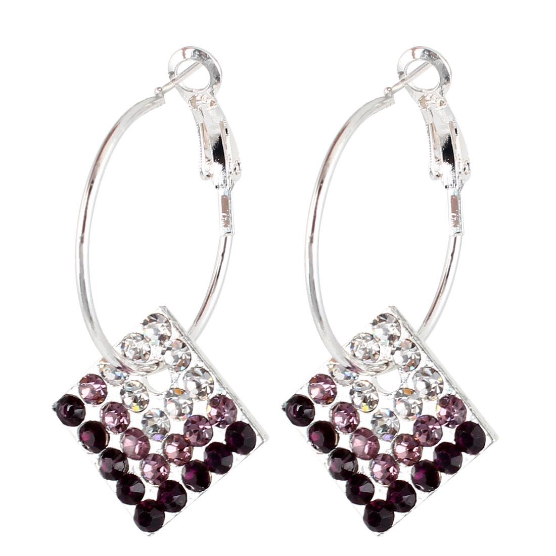Women Clear Pink Rhinestone Decor French Clip Earrings Earbob Eardrop