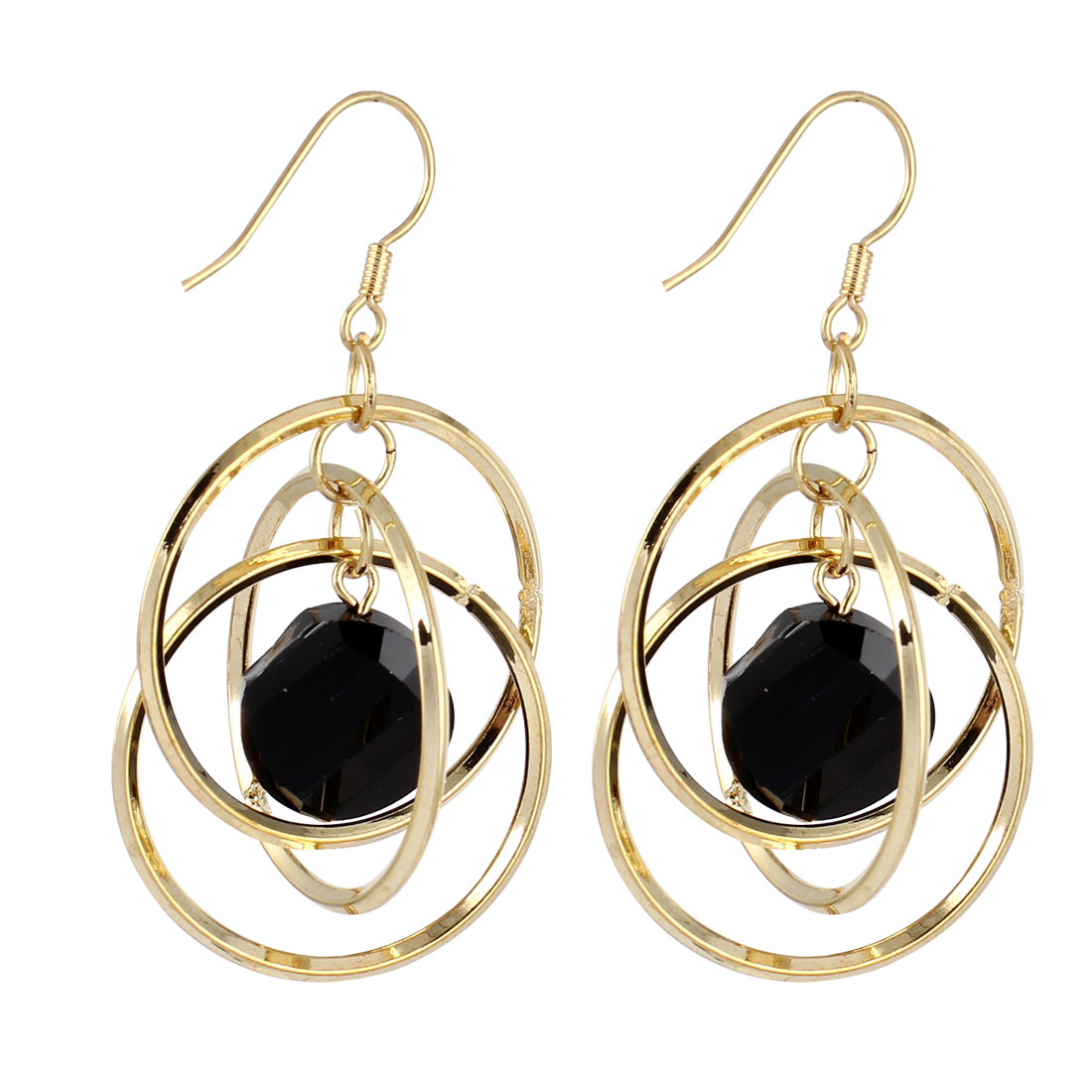 Gold Tone Metal 3 Layers 3cm Dia Ring Dangling Pendant Hook Earrings Pair for Lady