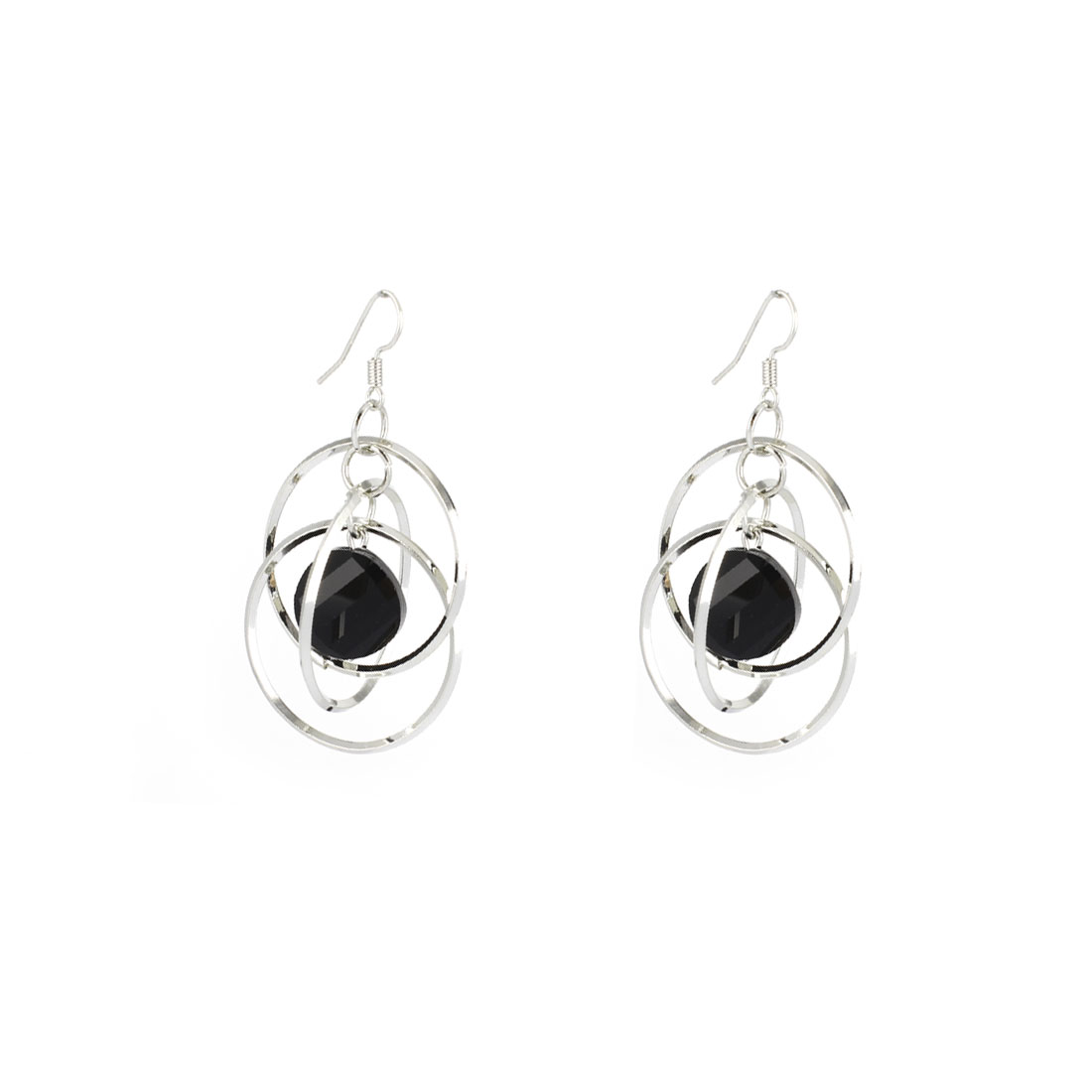 Silver Tone Metal 3 Layers 3cm Dia Ring Dangling Pendant Hook Earrings Pair for Lady