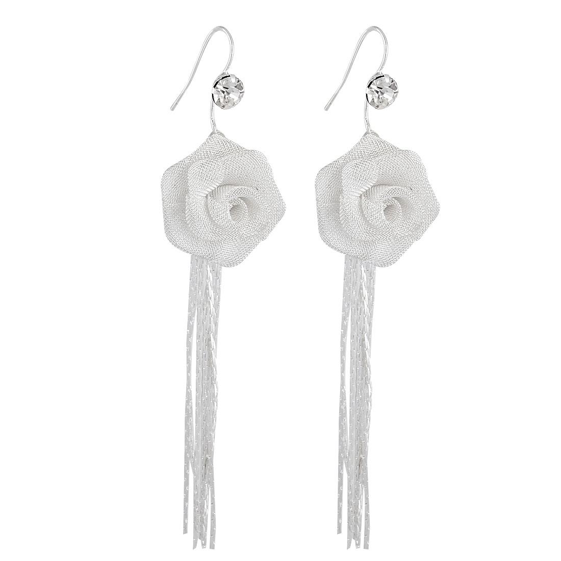 Metal Chain Tassels Peony Shaped Pendant Hook Earrings Silver Tone Pair for Lady