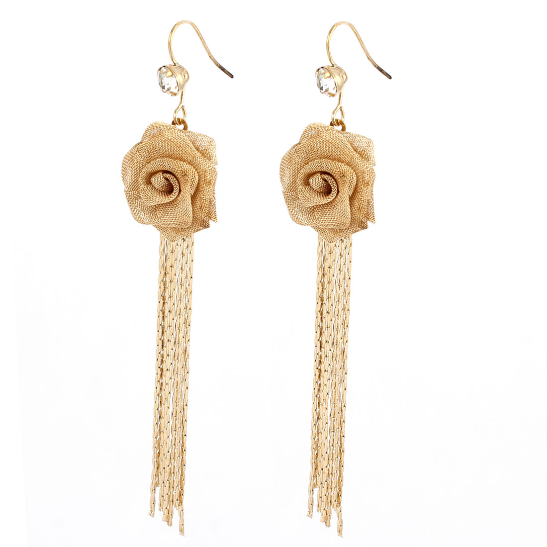 Metal Chain Tassels Peony Shaped Pendant Hook Earrings Gold Tone Pair for Woman