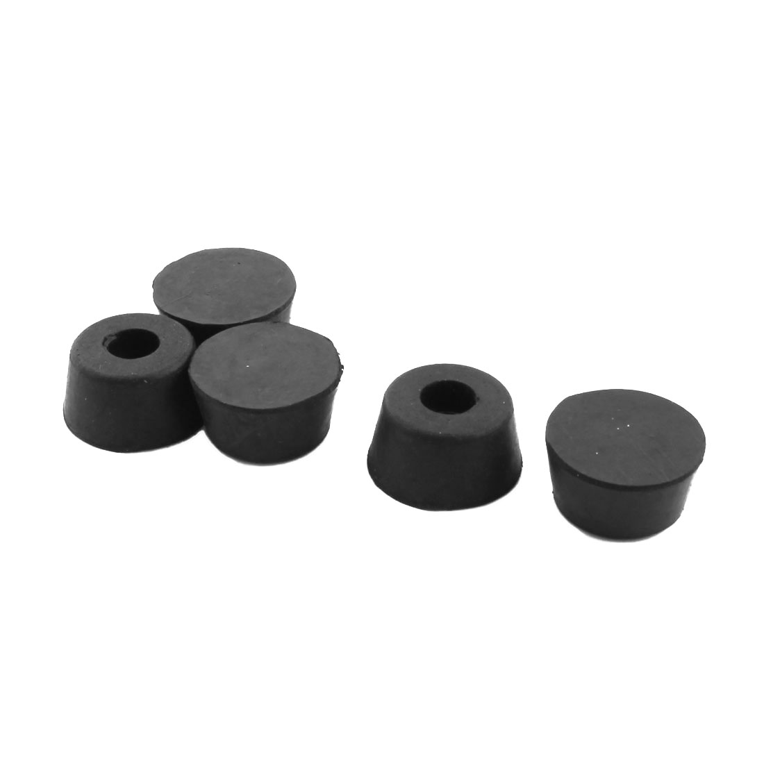 5Pcs Cone Shaped 9mm Hole Dia Furniture Table Chair Rubber Foot Pads Black 25x13mm