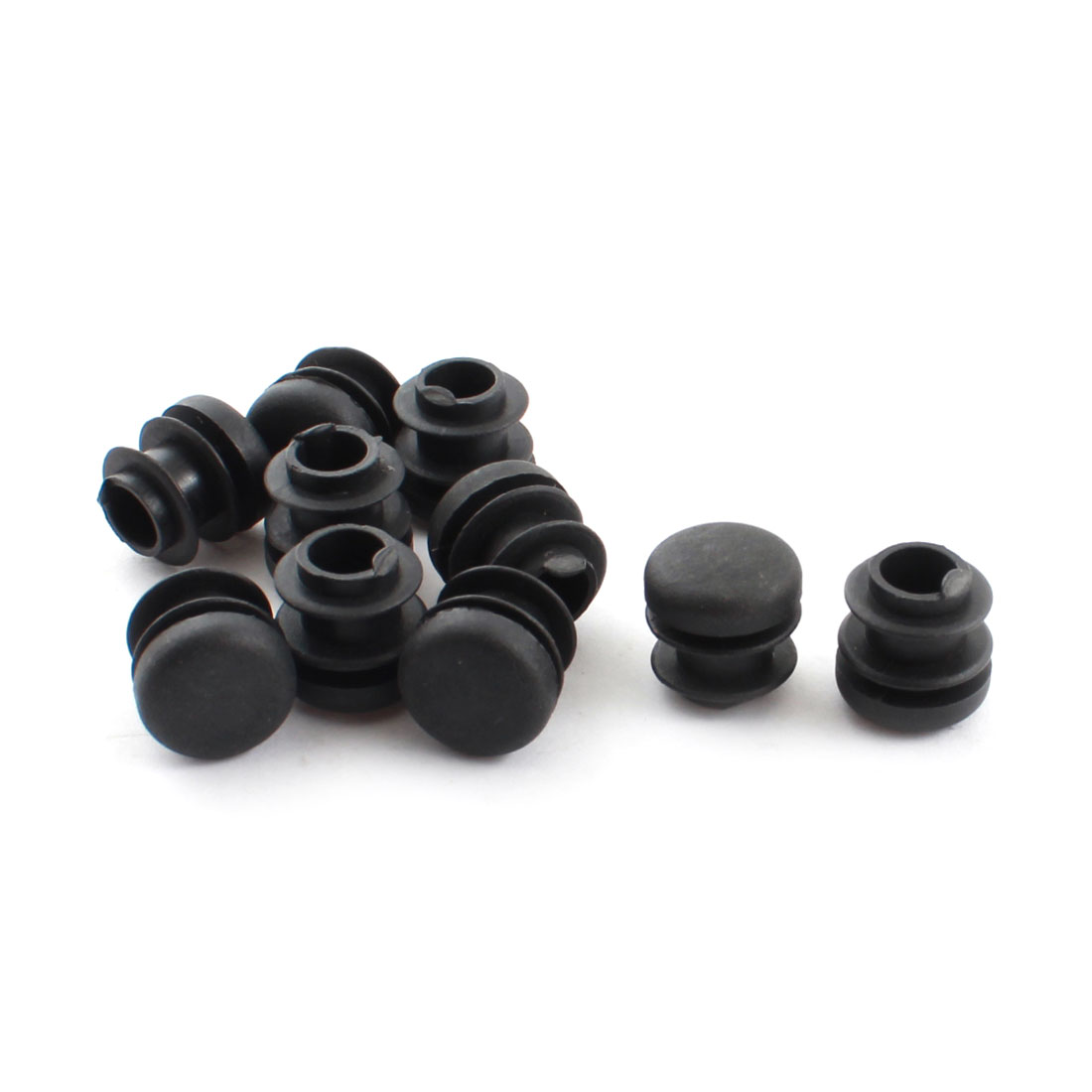 10 Pcs 16mm Diameter Black Plastic Blanking End Caps Round Tubing Tube Insert