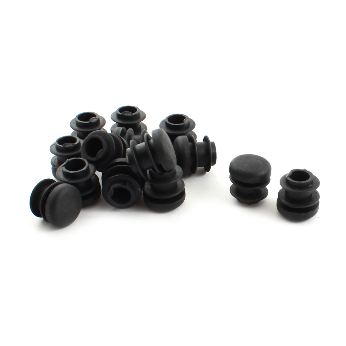 15 Pcs 16mm Diameter Black Plastic Blanking End Caps Round Tubing Tube Insert