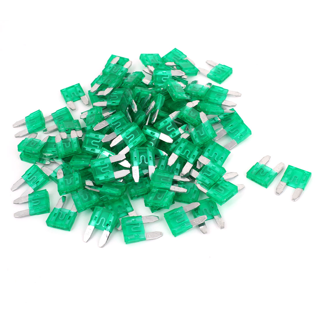 Motorcycle Car Auto ATC ATO Green Plastic Shell Mini Blade Fuse 30A 32V 100 Pcs