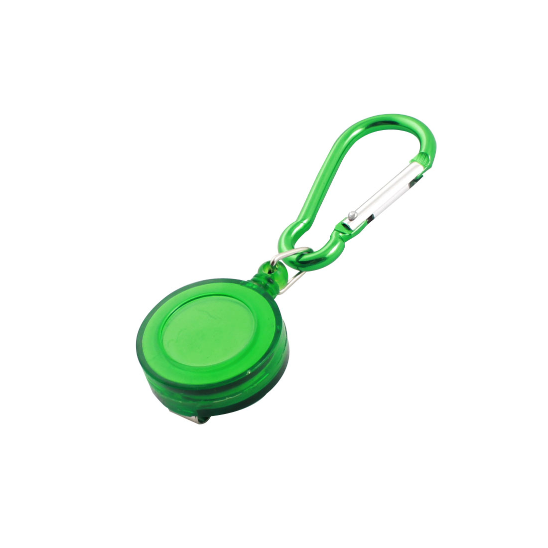 "Green D Shaped Carabiner Hook Retractable Cord Badge Reel 3.5"" Length"