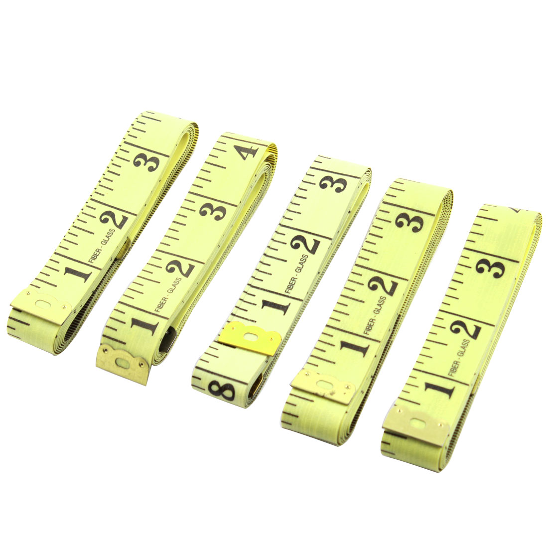 5 Pcs Yellow Soft Plastic 1.3cm Width Cloth Flat Ruler Tape 150cm Measure Length