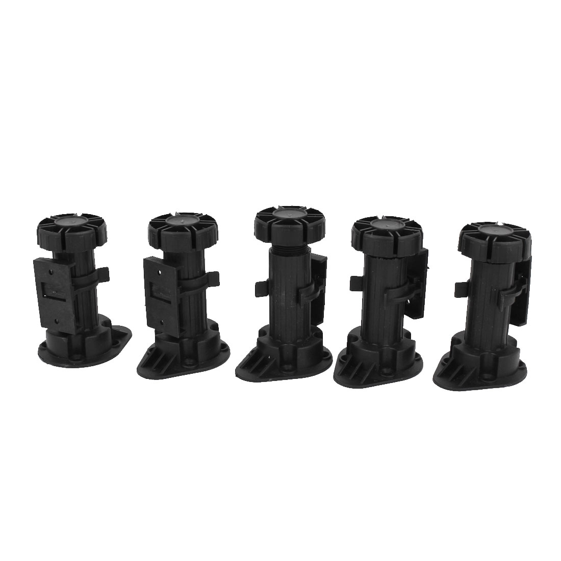 5Pcs Adjustable Height Black Plastic Cabinet Cupboard Foot Leg for Kitchen Bathroom