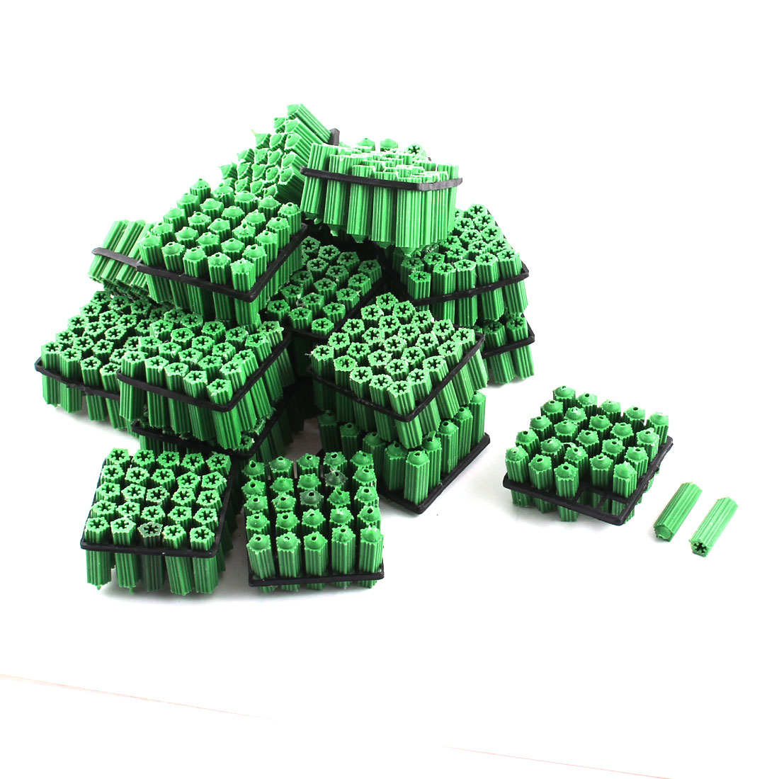 500 Pcs Green Plastic Masonry Screw Fixing Wall Anchor 8mm x 27mm
