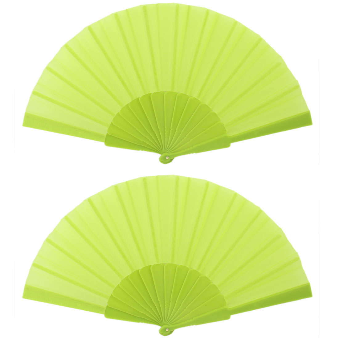"2 Pieces Green Plastic Frame Fabric Folding Hand Fan 9"" Length"
