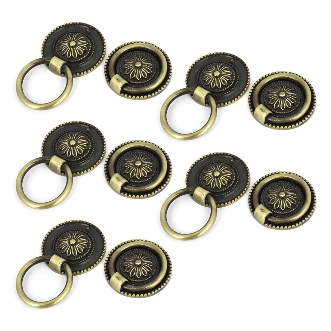 "10 Pcs Bronze Tone Flower Pattern 1.8"" Diameter Metal Ring Furniture Door Pull Handle"