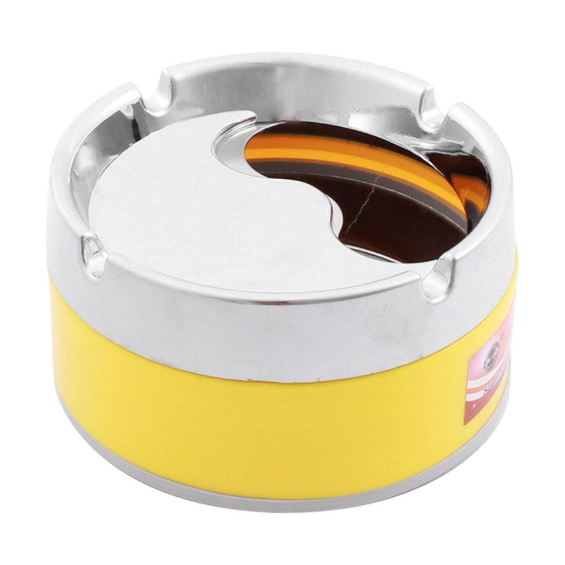 Silver Tone Yellow Plastic Alloy Cylinder Design Cigarette Holder Smoking Ashtray