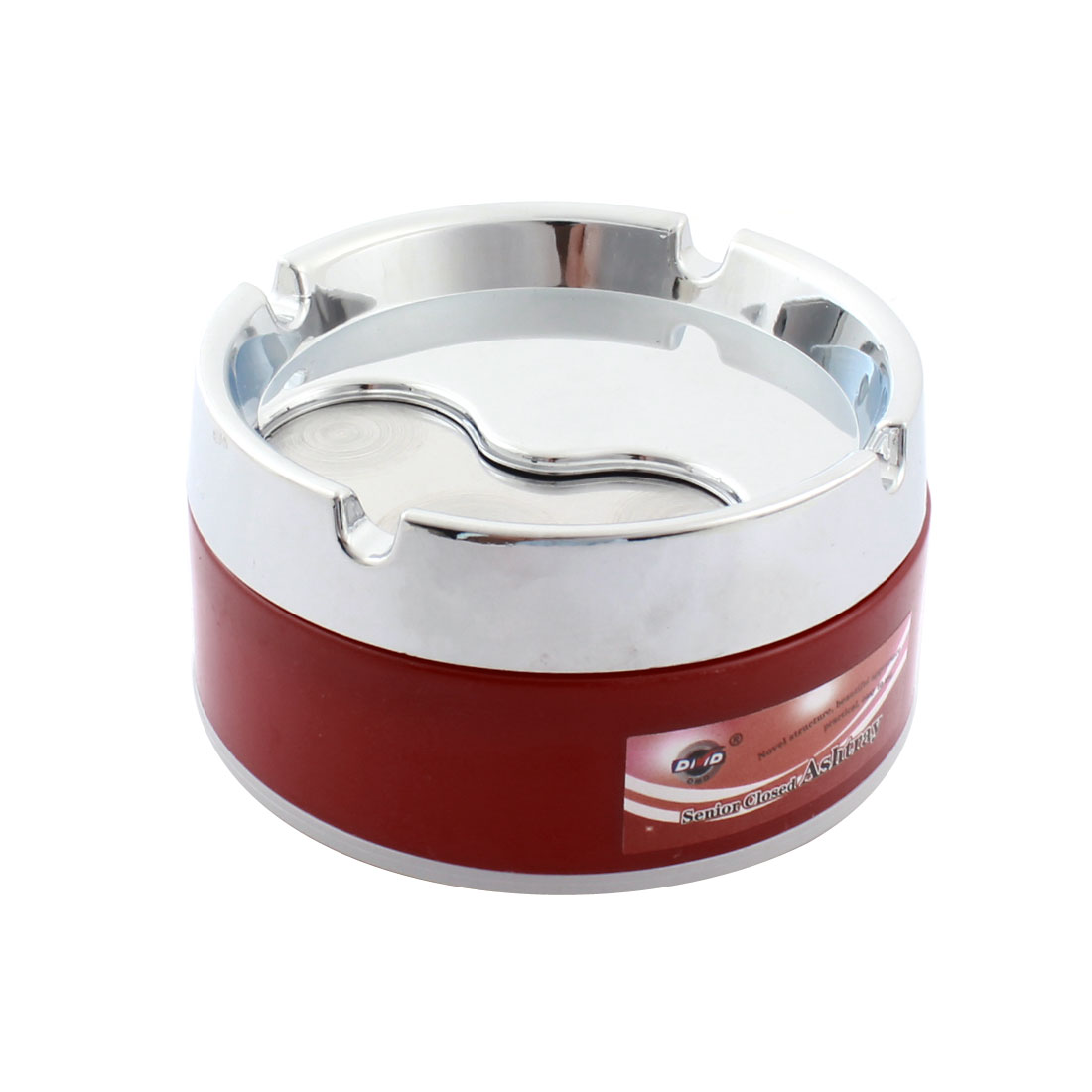"Silver Tone Red Plastic Metal Cylinder Design 3.3"" Dia Cigarette Holder Smoking Ashtray"