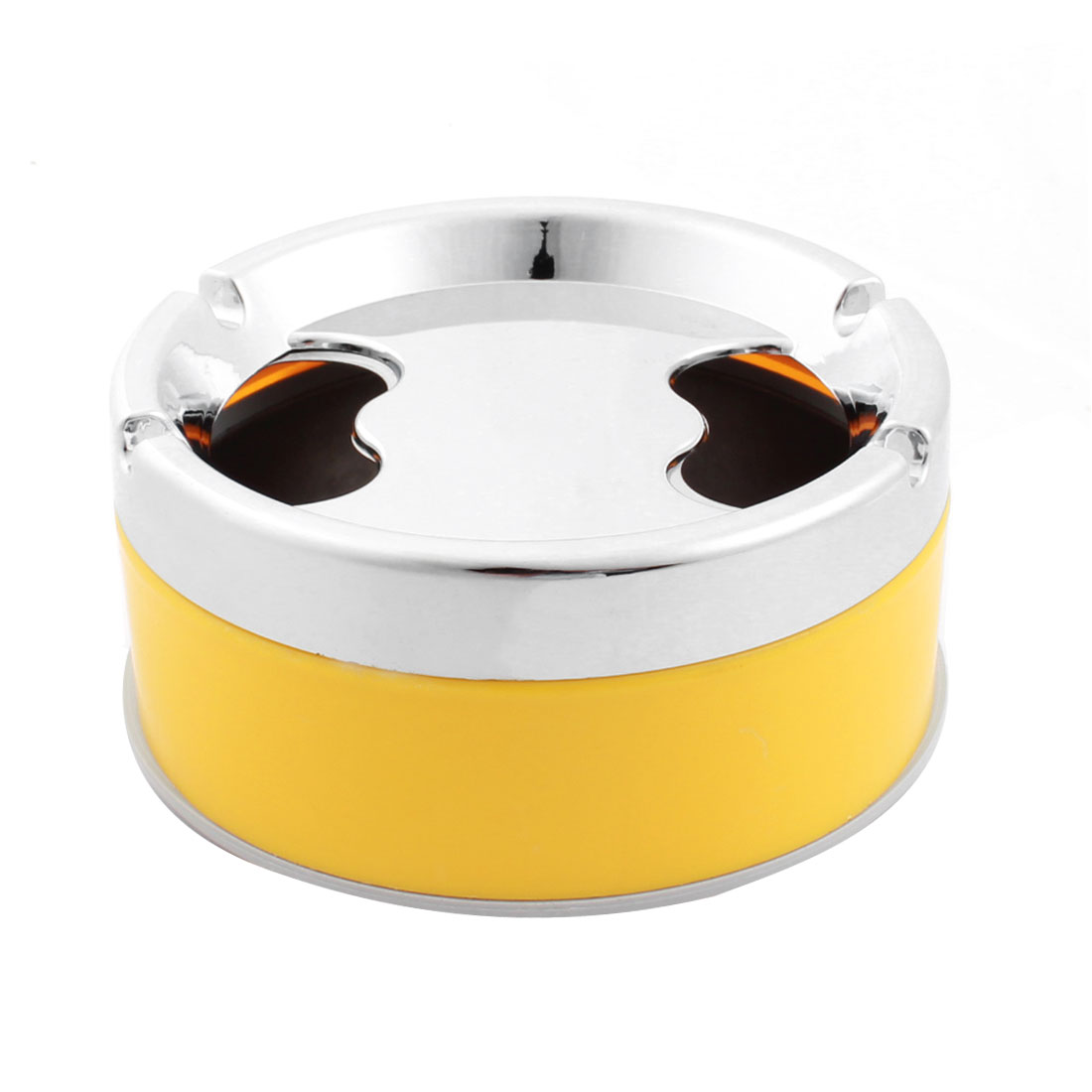 "Silver Tone Yellow Plastic Metal Cylinder Design 4.5"" Dia Cigarette Holder Smoking Ashtray"