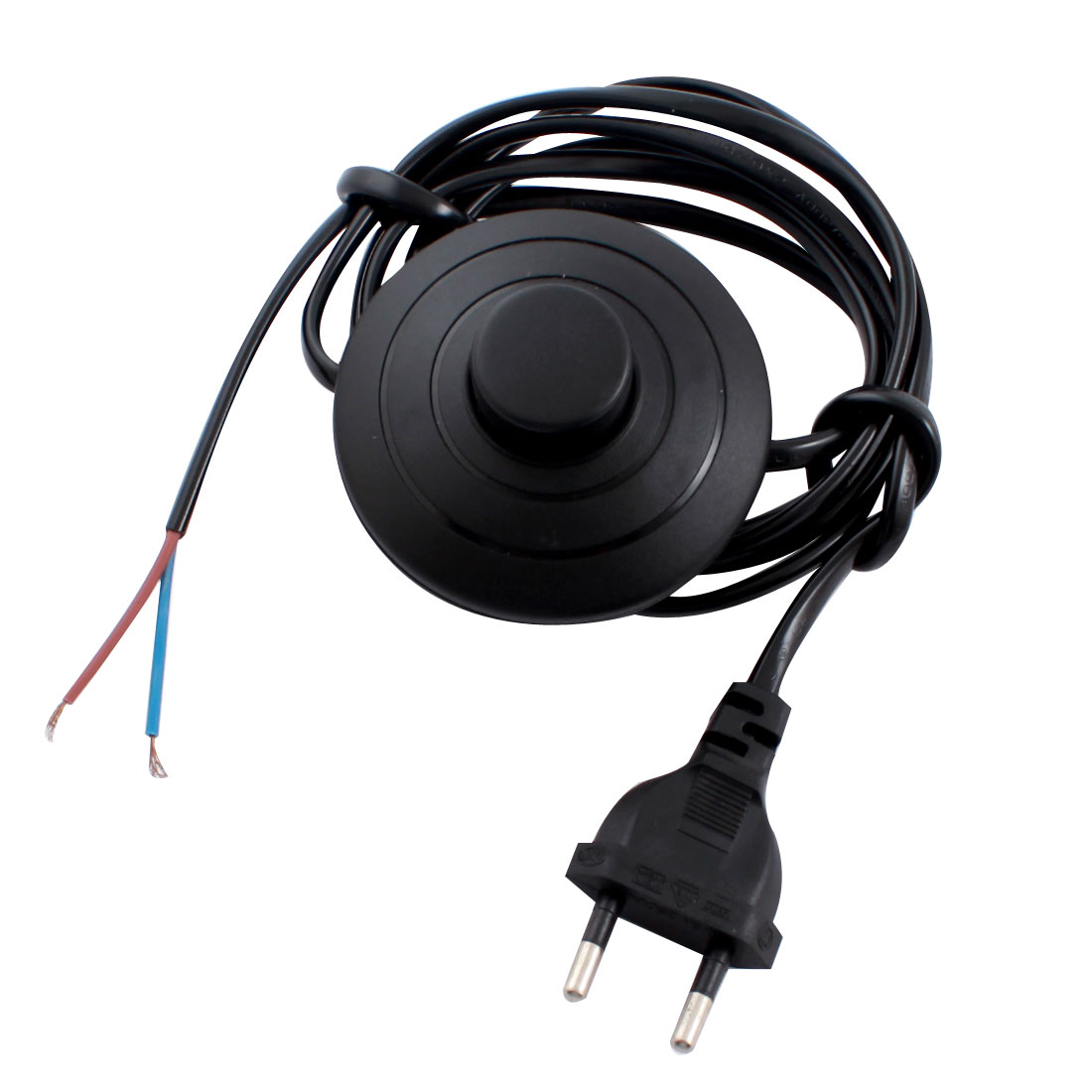 2Pcs Black Round AC 125V 3A AC 250V 2.5A EU Plug On-Off Light Power Step On Foot Switch 1.8M