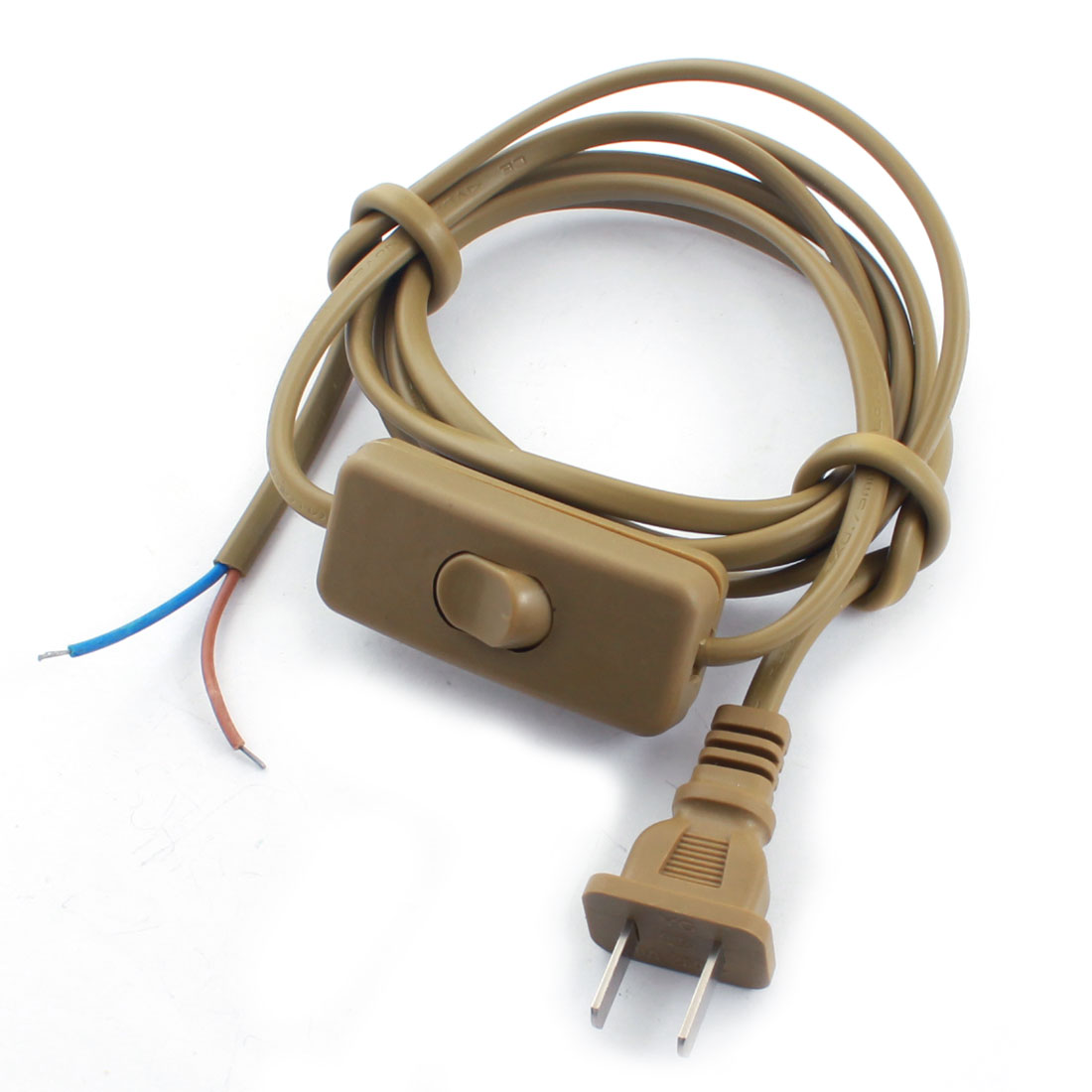 Brown US Plug 2Pin On-Off SPST Locking Light Power Cord Inline Button Switch 1.8M AC110V AC250V
