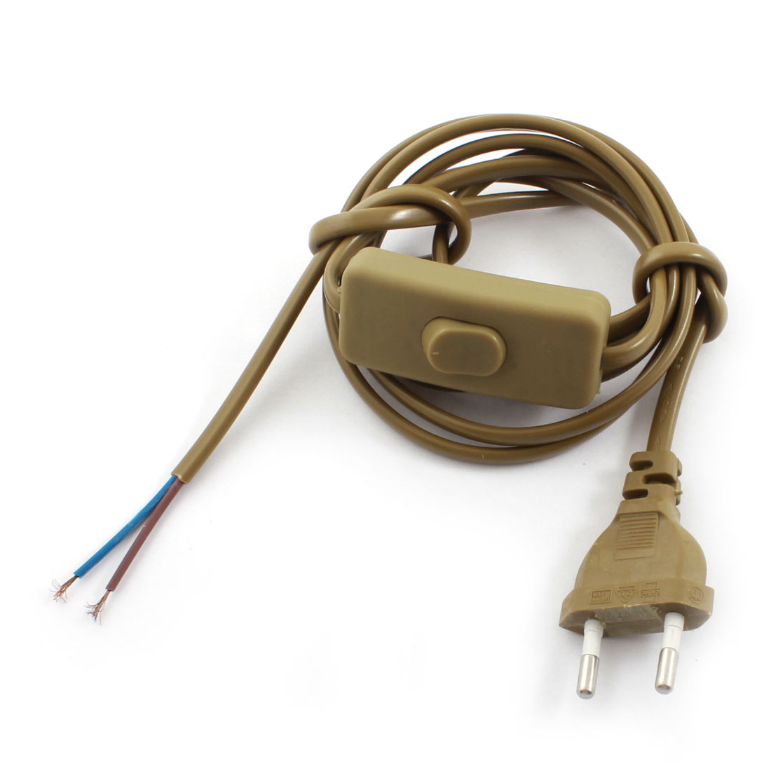 Brown EU Plug 2Pin On-Off SPST Locking Light Power Cord Inline Button Switch 1.8M AC110V AC250V
