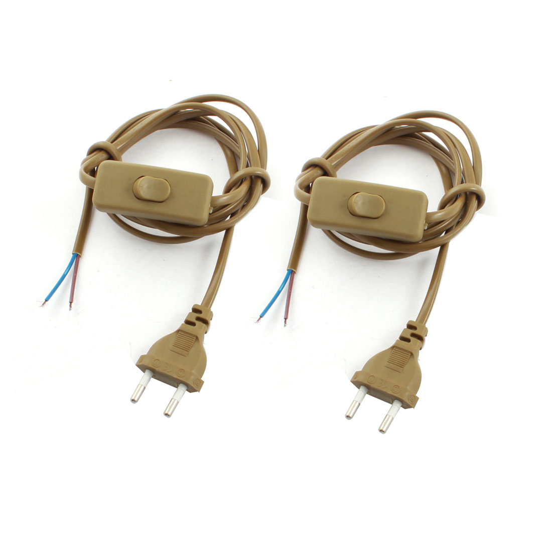 2Pcs Brown EU Plug 2Pin On-Off SPST Locking Light Power Cord Inline Button Switch 1.8M AC110V AC250V