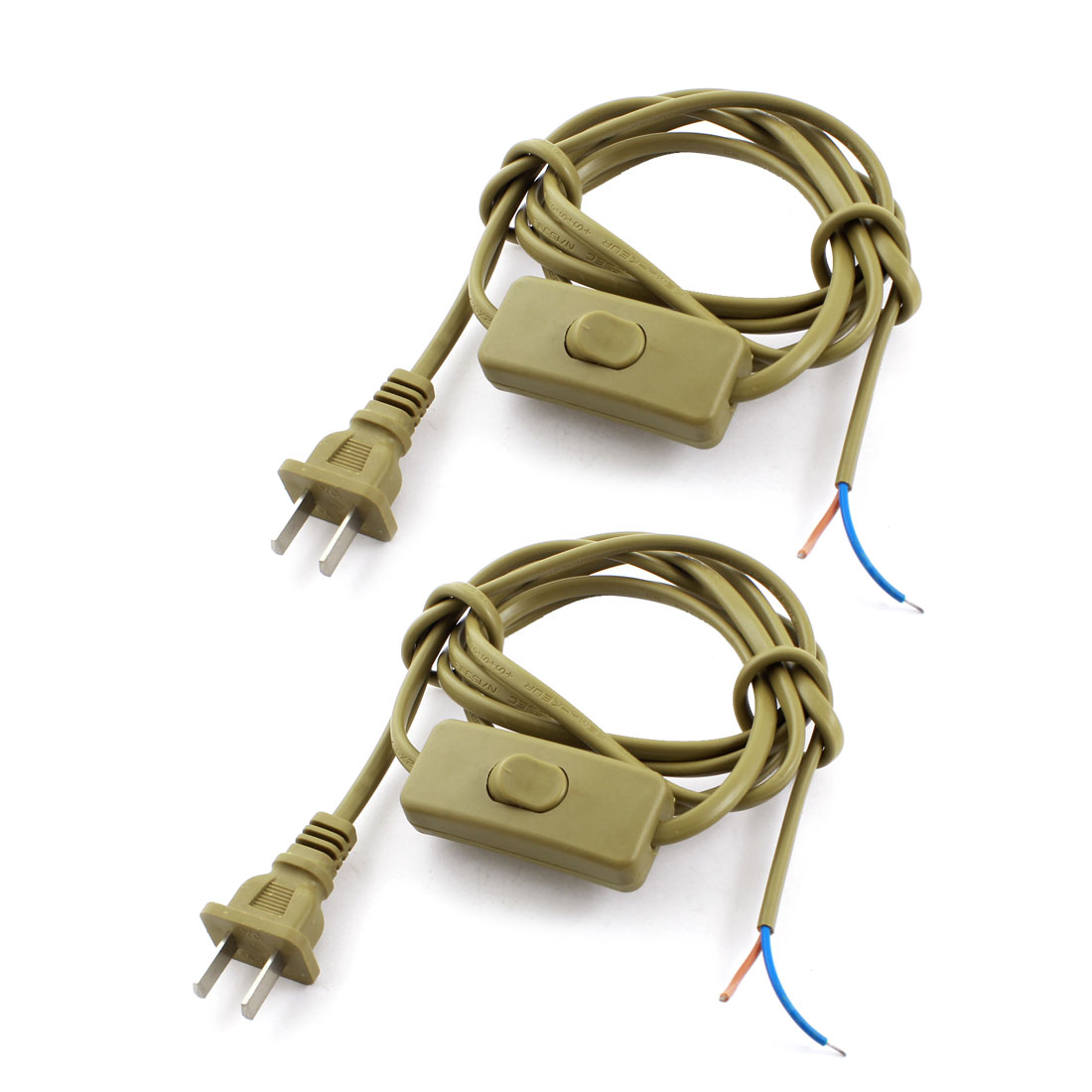 2Pcs Brown US Plug 2Pin On-Off SPDT Locking Light Power Cord Inline Button Switch 1.8M AC110V AC250V