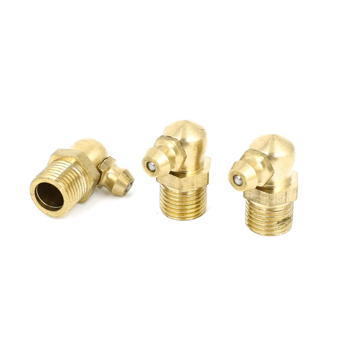 10mm Dia Male Thread 90 Degree Hydraulic Grease Nipple Fitting Brass Tone 3 Pcs