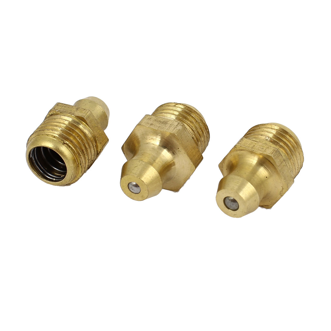 3 Pcs 10mm Dia Male Thread Straight Grease Nipples Fittings Brass Tone for Car