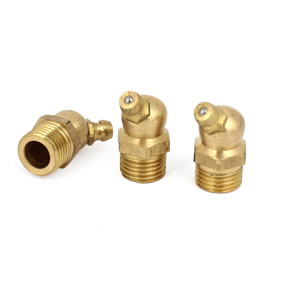 13mm Male Threaded 45 Degree Hydraulic Grease Nipple Fitting Brass Tone 3 Pcs