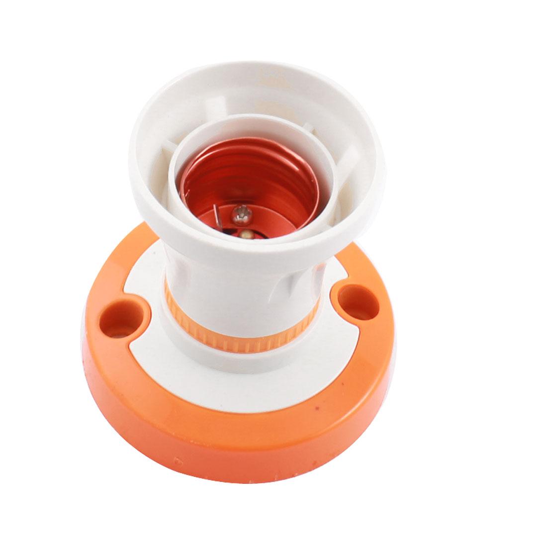 White Orange Plastic Shell E27 Screw Socket Lamp Bulb Holder