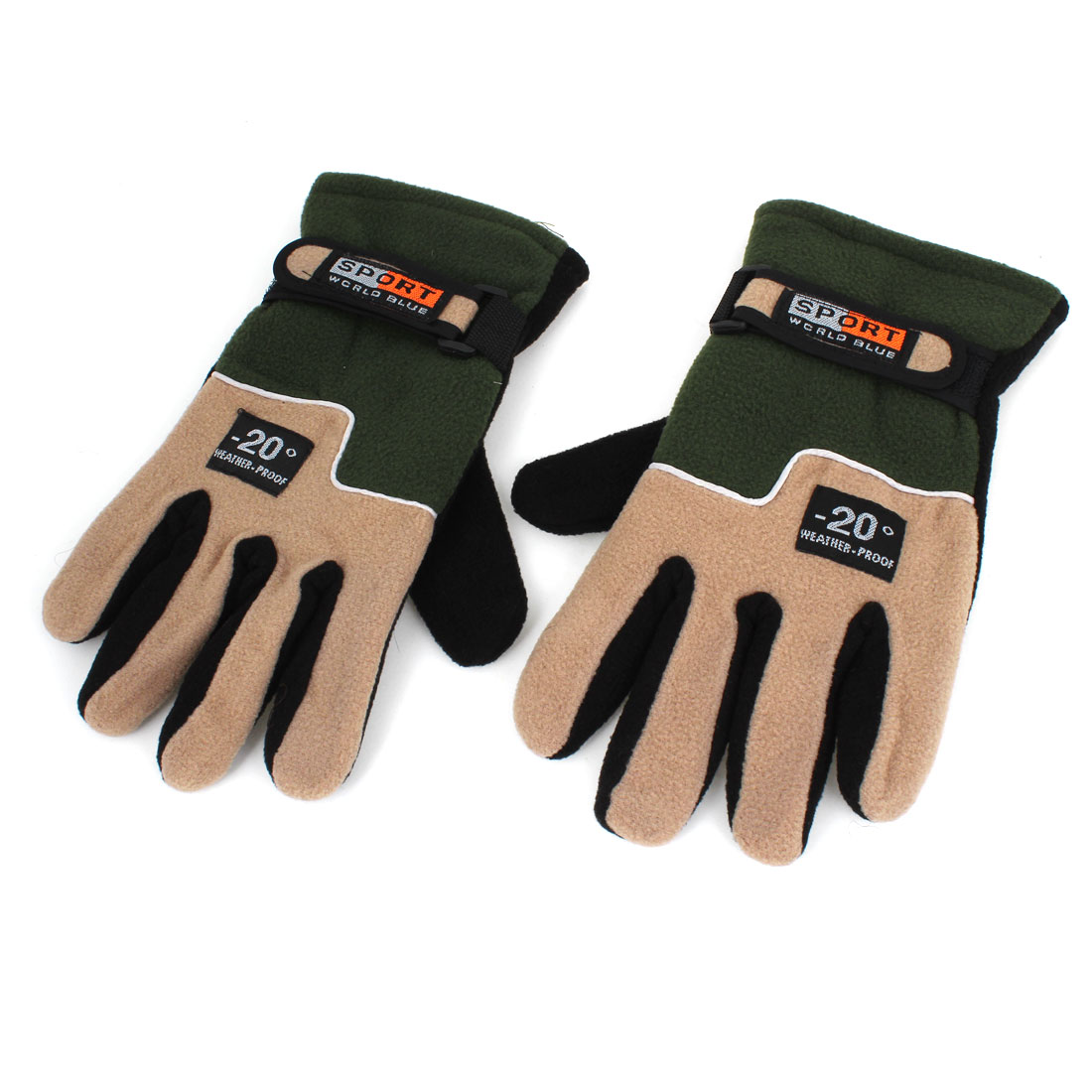 Pair Outdoor Cycling Skiing Fleece Thermal Winter Gloves Army Green for Unisex