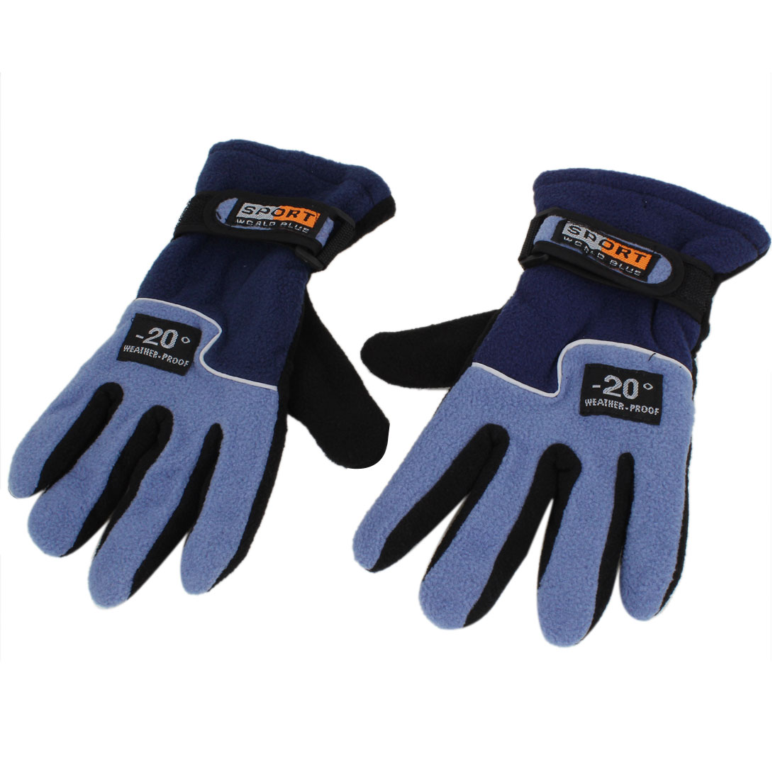 Pair Outdoor Cycling Skiing Fleece Thermal Winter Gloves Light Blue for Unisex
